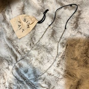 Madewell silver bead necklace on black suede rope